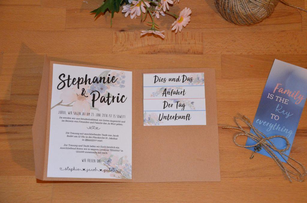 Einladung Hochzeit Kraftpapier Mit Blumenranken Diy Hochzeit