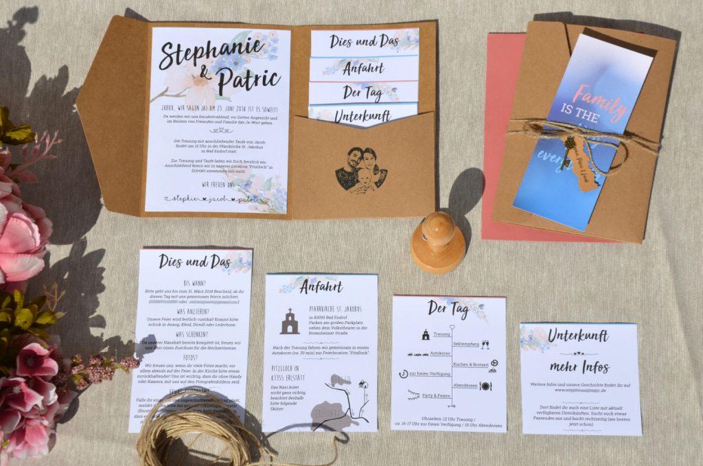 9251f5e51860b Einladung Hochzeit - Kraftpapier Pocketfold mit Blumenranken - DIY ...