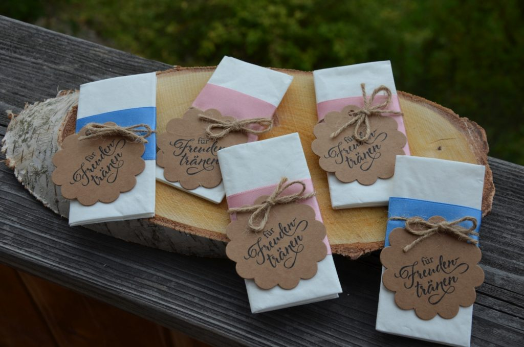Rustikale und schicke Taschentücher / Freudentränen für die Hochzeit