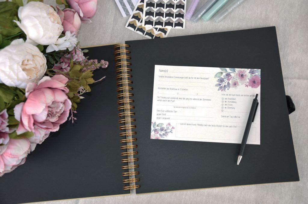 Eine tolle Idee für das Hochzeits-Gästebuch: Fragekarten statt Sprüche googlen...