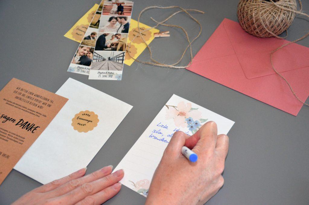 Dankeskarten Mit Fotostreifen Und Vintage Usb Stick Diy Hochzeit