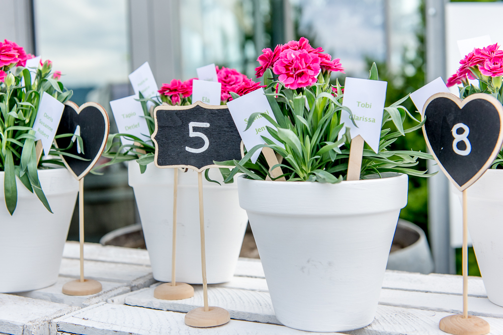 Sitzplan als Blumentöpfe