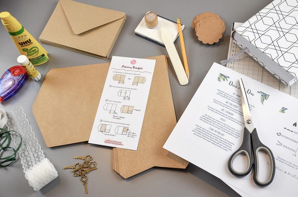 Materialien zum Hochzeitseinladungen basteln