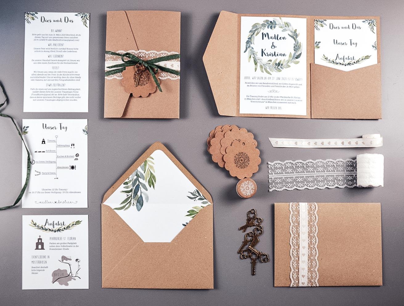 Einladungsset für die Hochzeit