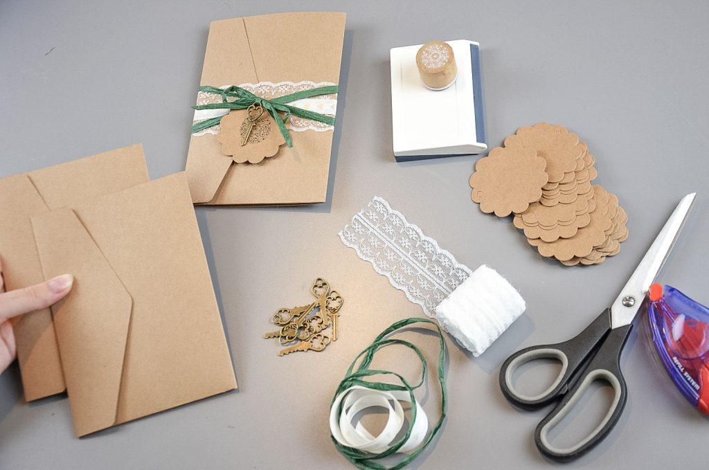 Materialen für die gestaltung der Pocketfold-Einladungen